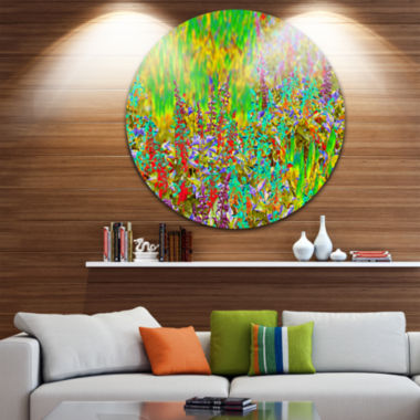 Design Art Colorful Textured Flowerbed Floral Circle Metal Wall Art