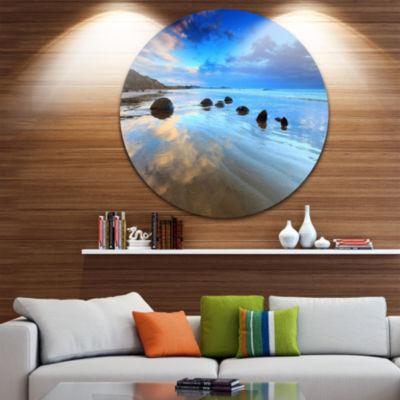 Design Art Cloudy Sky Over Moeraki Boulders Seashore Photo Circle Metal Wall Art