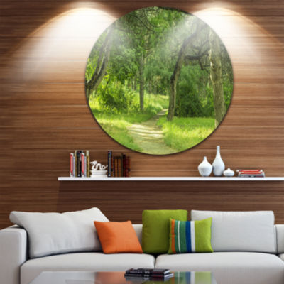 Design Art Green Forest Path in Early Summer Landscape Photography Circle Metal Wall Art