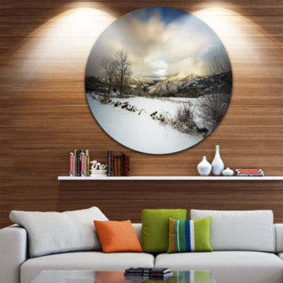 Design Art Snow Storm in Spain Landscape Photography Circle Metal Wall Art