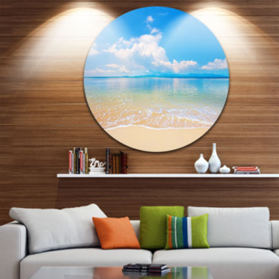 Design Art Large Clouds Over Calm Beach Seashore Photo Circle Metal Wall Art