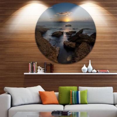 Design Art Rocky Sydney Beach at Sunset Ultra Vibrant Seascape Oversized Circle Wall Art