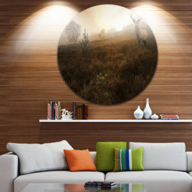 Design Art Mist Forest with Red Deer Stag Landscape Photo Circle Metal Wall Art