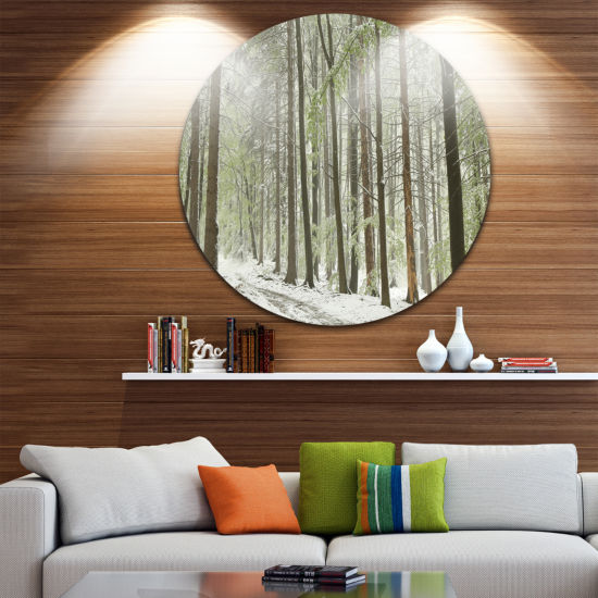 Design Art Spring Beech Forest Scenery Landscape Oversized Circle Wall Art
