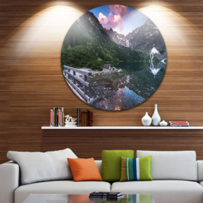 Design Art Wooden Foot Bridge Over Lake Ultra Vibrant Landscape Metal Circle Wall Art