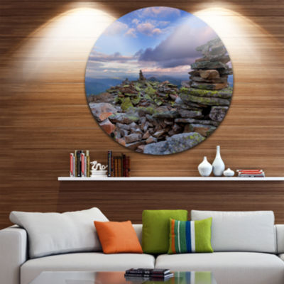 Design Art Piled Stones in Summer Mountains Landscape Photography Circle Metal Wall Art