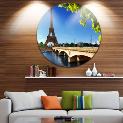 Design Art Bridge to Paris Paris Eiffel TowerParisUltra Vibrant Cityscape Metal Circle Wall Art