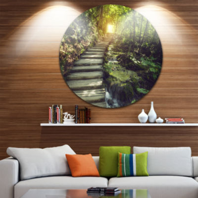 Design Art Misty Journey Ahead Landscape Photography Circle Metal Wall Art