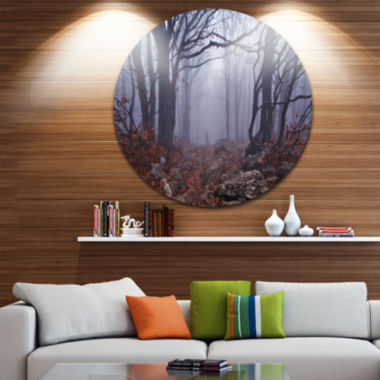 Design Art Dark Foggy Forest in Autumn Landscape Photography Circle Metal Wall Art