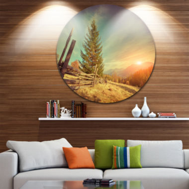 Design Art Retro Style Autumn in Mountains Landscape Photo Circle Metal Wall Art