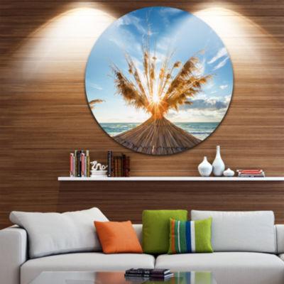 Design Art Vivid Sunrise on Sandy Beach Ultra Vibrant Seascape Metal Circle Wall Art