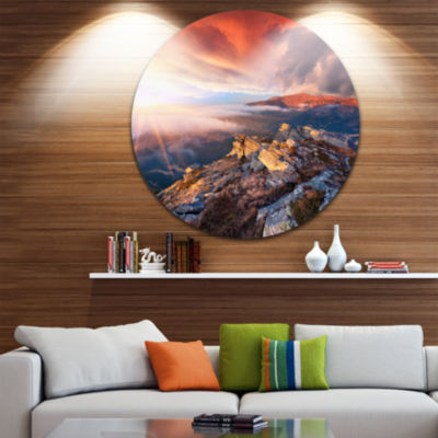 Design Art Colorful Autumn Sky and Mountains Landscape Photography Circle Metal Wall Art
