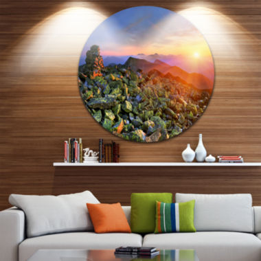 Design Art Bright Sun in Carpathian Mountains Landscape Photography Circle Metal Wall Art