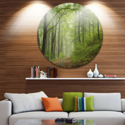 Design Art Early Green Fall Forest Landscape PhotoCircle Metal Wall Art