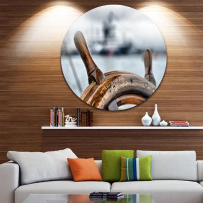 Design Art Steering Wheel Sailboat Landscape Photography Circle Metal Wall Art