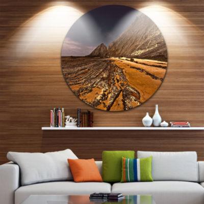 Design Art Brown Rocky Coast Portugal Ultra Vibrant Cityscape Metal Circle Wall Art