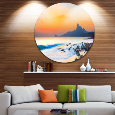Design Art Stone in the Beach at Sunset Seashore Photo Circle Metal Wall Art