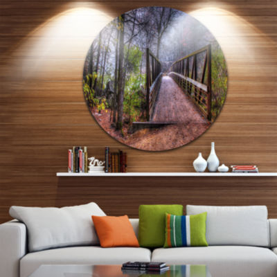 Design Art Beautiful Bridge Over Creek Landscape Photo Circle Metal Wall Art