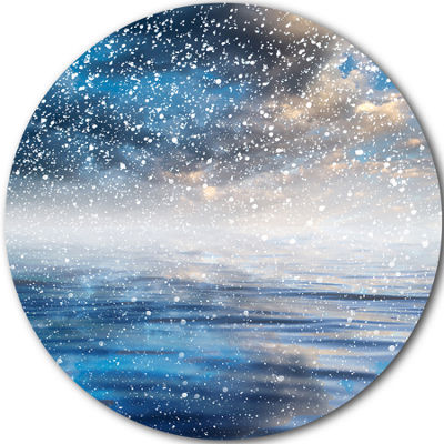 Design Art Blue Sky Reflection in the Lake SkylinePhotography Circle Metal Wall Art