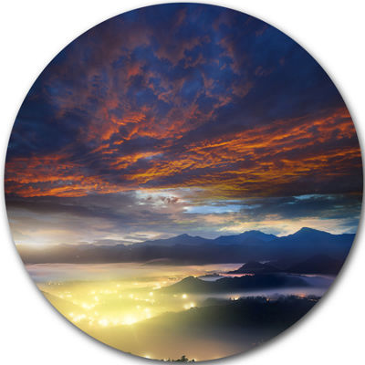 Design Art Blue Fiery Overcast at Sunrise Landscape Photo Circle Metal Wall Art
