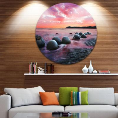 Design Art Moeraki Boulders at Sunset Seashore Photo Circle Metal Wall Art