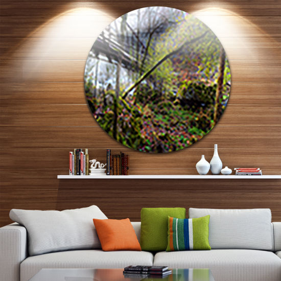 Design Art Creek and Bridge with Sunbeams Landscape Photography Circle Metal Wall Art