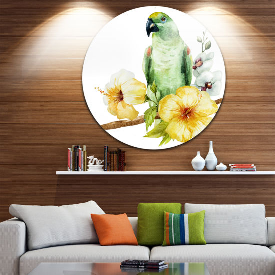 Design Art Parrot with Flowers Watercolor Floral Metal Artwork