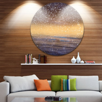 Design Art Brown Sky Reflection in Lake Skyline Photography Circle Metal Wall Art