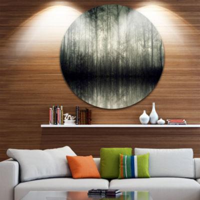 Design Art Beautiful Gray Forest in Germany CircleLandscape Circle Metal Wall Art