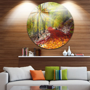 Design Art Bright Colorful Alpine Forest LandscapePhoto Circle Metal Wall Art