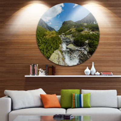 Design Art Alpine Stream in High Mountains Ultra Vibrant Landscape Metal Circle Wall Art