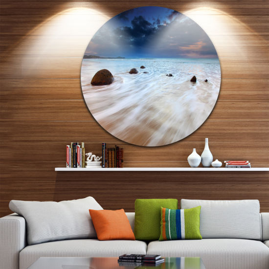 Design Art Waves Flowing Over Boulders Seashore Photo Circle Metal Wall Art