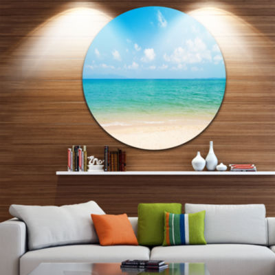 Design Art Wide View of Tropical Beach Seashore Photo Circle Metal Wall Art