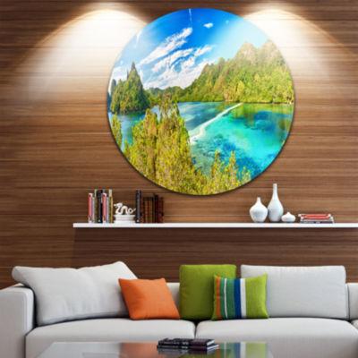 Design Art Snake Island Panorama Landscape Photo Circle Metal Wall Art