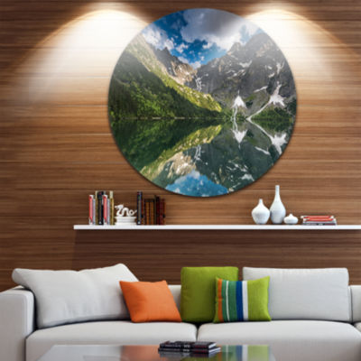 Design Art Reflection of Mountain Peaks Ultra Vibrant Landscape Metal Circle Wall Art