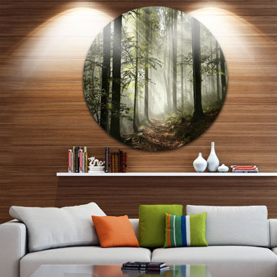 Design Art Light in Dense Fall Forest with Fog Ultra Vibrant Landscape Oversized Circle Wall Art