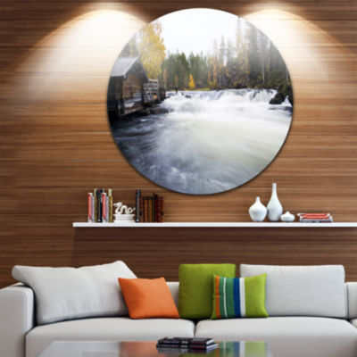 Design Art Flowing River and Aged Watermill Landscape Photography Circle Metal Wall Art