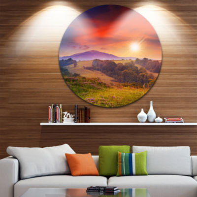 Design Art Cold Morning Fog with Red Hot Sun Landscape Photography Circle Metal Wall Art