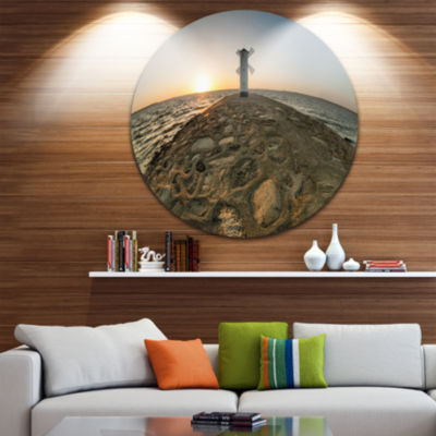 Design Art Lighthouse Windmill Stawa Mlyny Ultra Vibrant Seascape Metal Circle Wall Art