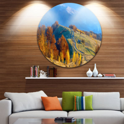 Design Art Rural Road on Autumn Mountains Ultra Vibrant Landscape Metal Circle Wall Art