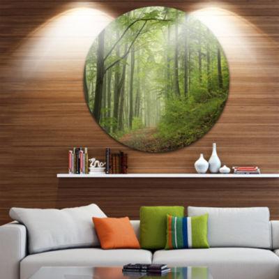 Design Art Early Green Fall Forest Landscape PhotoCircle Metal Wall Art