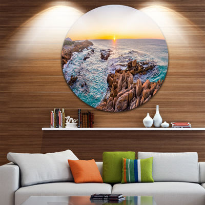 Design Art Sunrise at Freycinet NP Beach Ultra Vibrant Landscape Metal Circle Wall Art