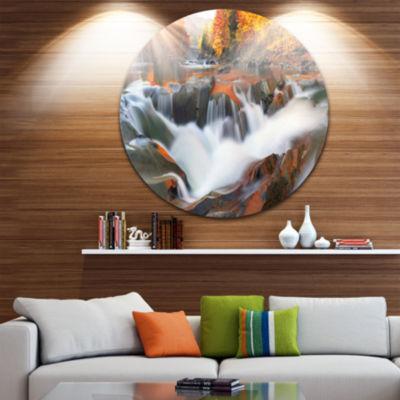 Design Art Waterfall Probiy in Prut River Circle Landscape Circle Metal Wall Art