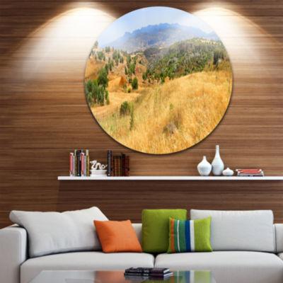 Design Art Cyprus Landscape Panoramic View Ultra Vibrant Landscape Metal Circle Wall Art