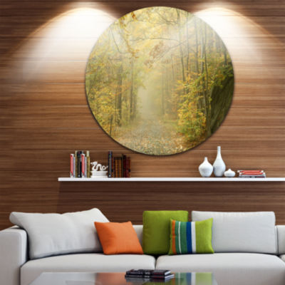 Design Art Autumn Forest Path on Misty Morning Circle Landscape Circle Metal Wall Art