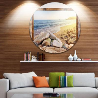 Design Art Framed Effect Beach Rocks Seashore Circle Metal Wall Art
