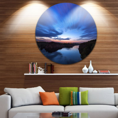 Design Art Blue Night Sky with River Circle Landscape Circle Metal Wall Art