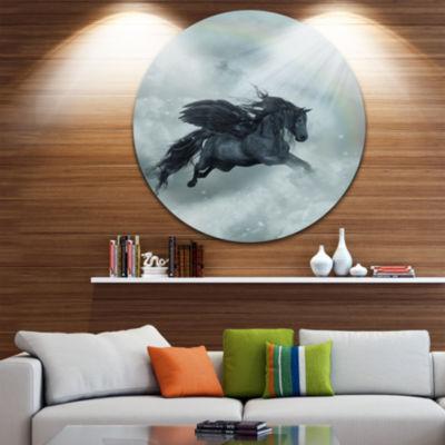 Design Art Pegasus in the Heaven Animal Painting Circle Metal Wall Art