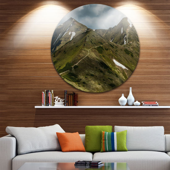 Design Art Trekking Patch in Tatra Mountains UltraVibrant Landscape Oversized Circle Wall Art
