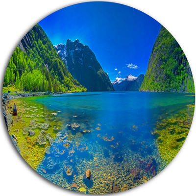 Design Art Panoramic View of Norwegian Fjord UltraVibrant Landscape Metal Circle Wall Art